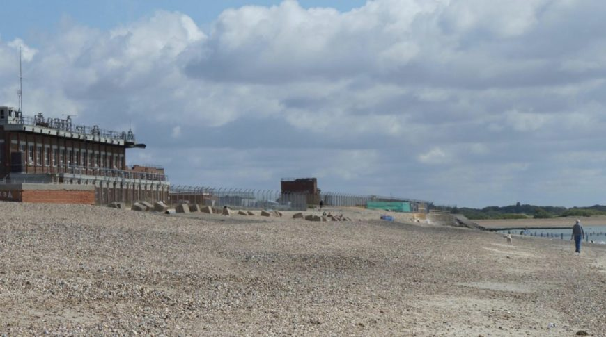 Eastney Beach with renovation space in the background.