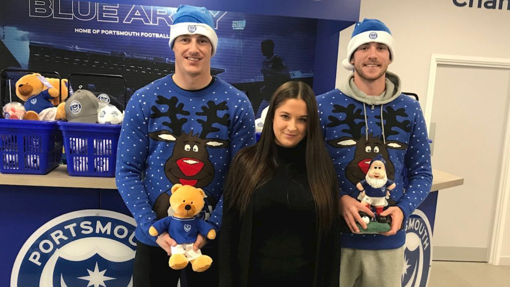 Portsmouth players dressed in Christmas jumpers and Santa hats spreading cheer at hospitals in Portsmouth and Southampton