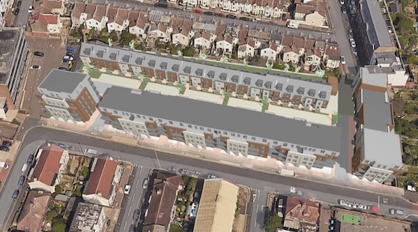 Artist's impression of street view of School Road development